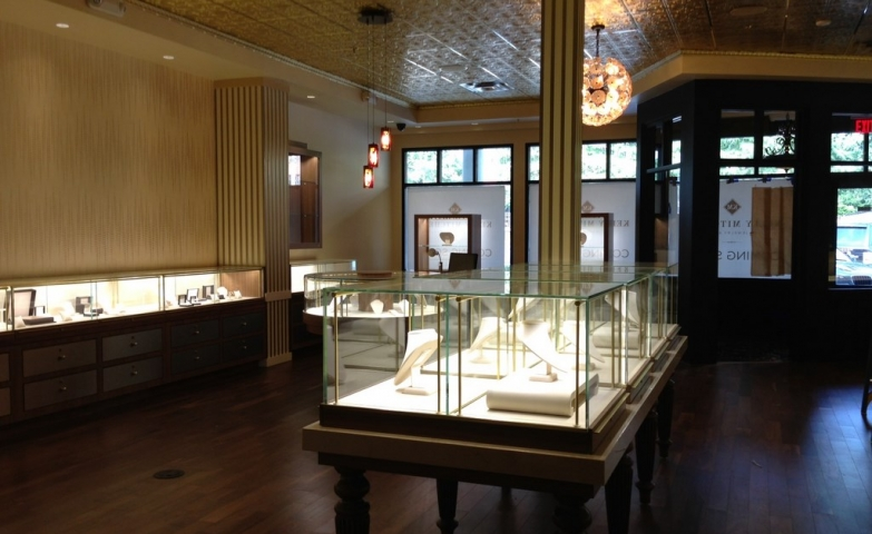 The inside of the Kelly Mitchell Jewelry store in Highland Park, TX after the construction.