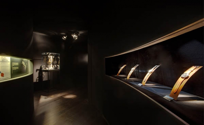 "Black room setting from the Panerai Watches exhibition called ""Time and Space Galileo Galilei""."