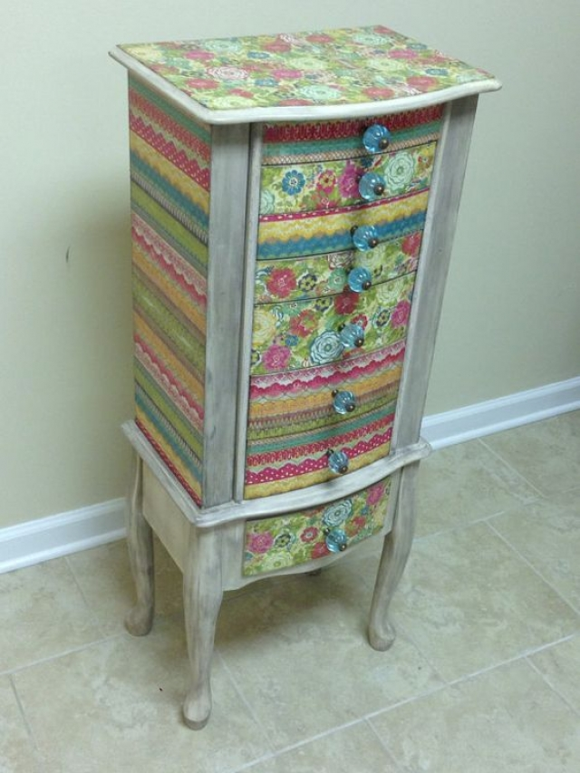 Custom made multi colored armoire, re-purposed for jewelry storage.