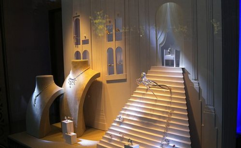 Original scenery resembling the inside of a castle to create a showcase for jewelry display.