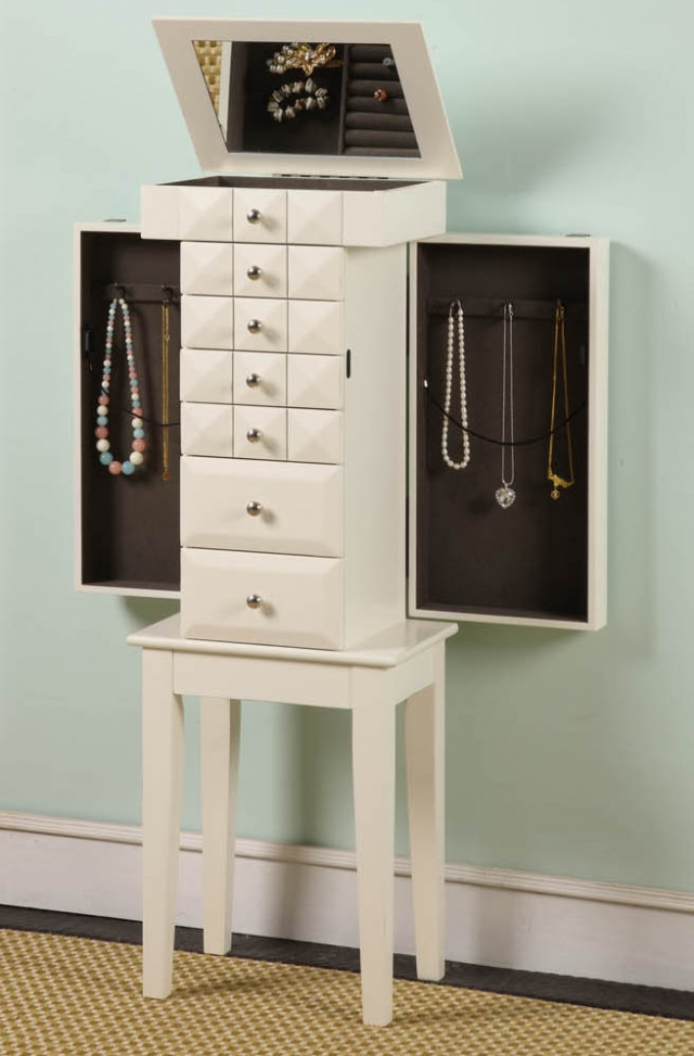 An elegant look and a great addition to any home, the Nathan Direct Diamond jewelry armoire.