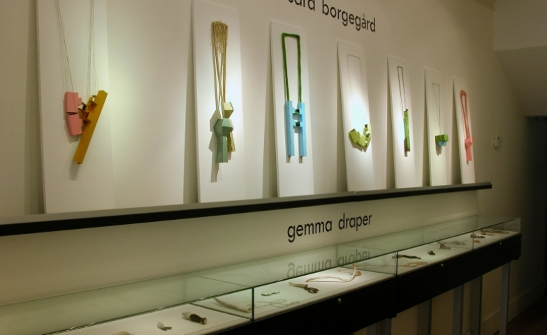 Very contemporary and modern pieces displayed at an exhibition, by Sara Borgegard and Gemma Draper.