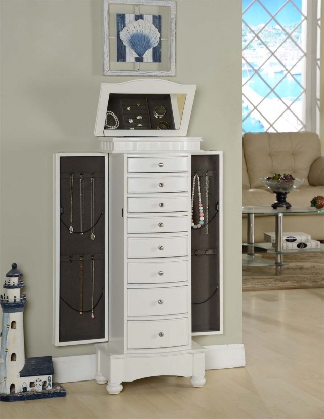 Nathan Direct Muscat, a white jewelry armoire with plenty of storage space.