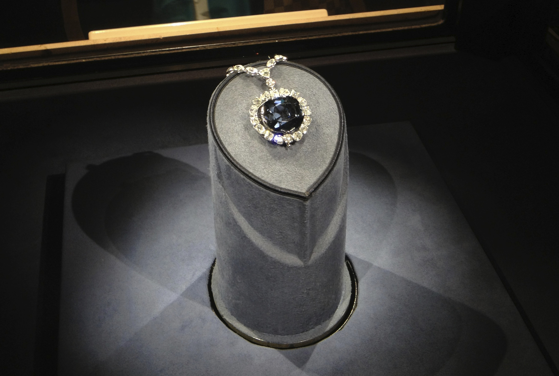"The mesmerizing ""Hope Diamond"" displayed elegantly at the Smithsonian National Museum of Natural History."