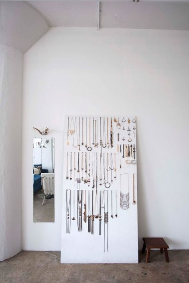 The studio is where the jewelry magic happens, this is the way the jeweller hangs his creations.