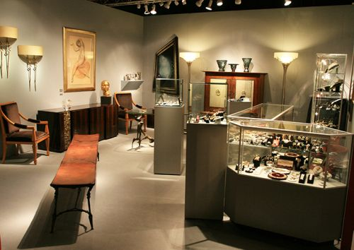 Exhibition setting with decor and jewelry display from Spring Masters at the Park Avenue Armory in New York City.