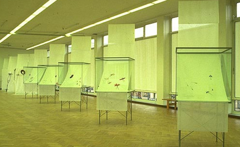 Lime color setting, big glass cubes and a thin cloth on which the jewelry pieces are displayed, seen at an jewelry exhibition at the Stedelijk Museum in Amsterdam.