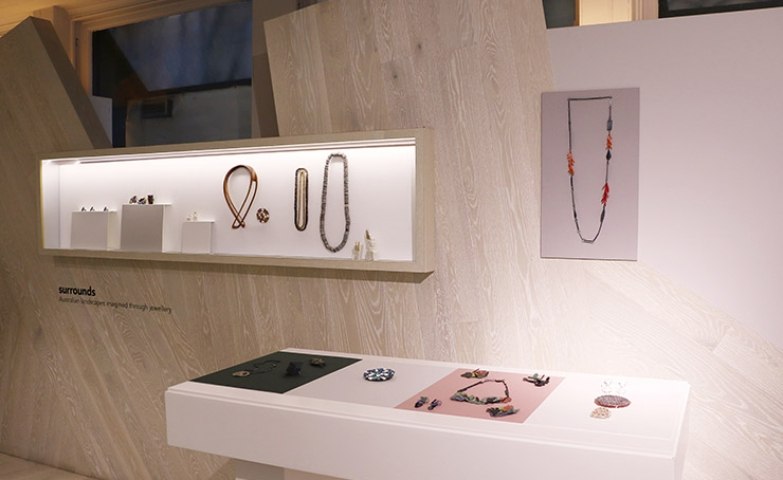 "Various pieces displayed in a simplistic way for the ""Surrounds"" jewellery exhibition, in March 2016."