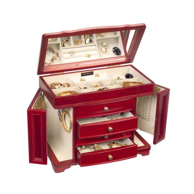 Riley jewelry box with fun side hangers, drawers, storage boxes and even a mirror.