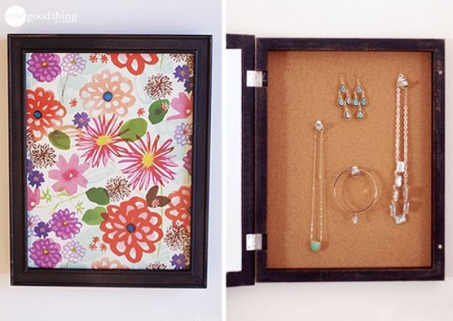 Secret shadow box storage which you can place on the wall and mask your jewelry in plain sight.
