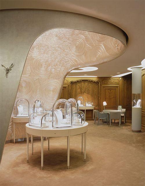 Elegant vintage design inspiration from the Van Cleef and Arpels stores.