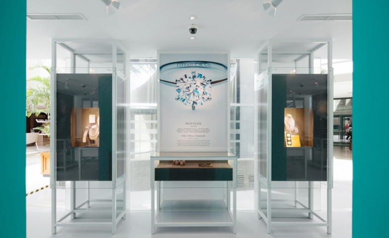 Display installation of neck pieces and advertising for Tiffany & Co Diamond Pavilion, China.