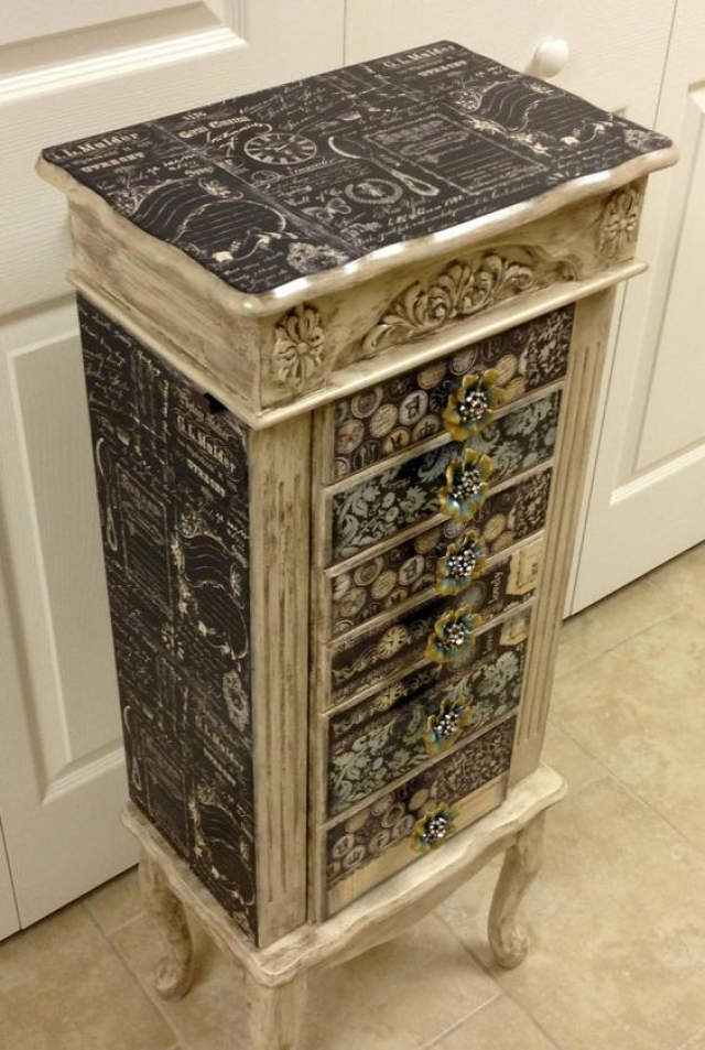 Turquoise, gold and black re-purposed jewelry drawers armoire by Fun and Fancy Designs.