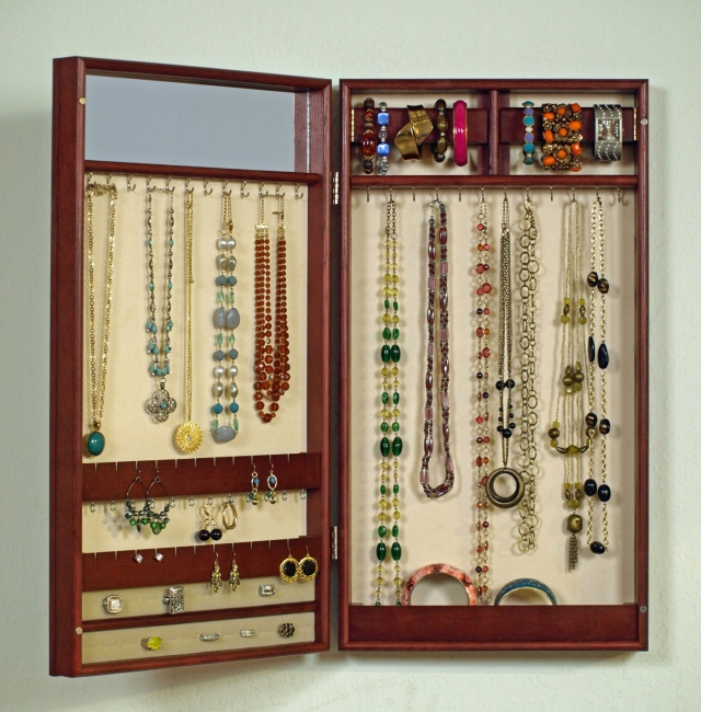 Wall mounted jewelry cabinets are quite popular and are a great way to keep jewels on hand in a discrete way.