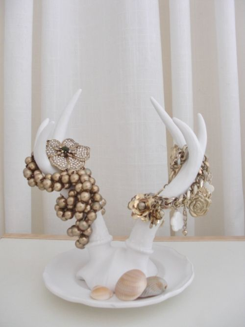 Antler jewelry display with white finish, can be used for hanging necklaces and bracelets.
