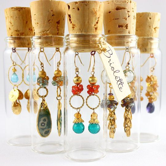 Beautiful earrings by Briolette Jewelry. This is a creative way to package and display your jewelry.