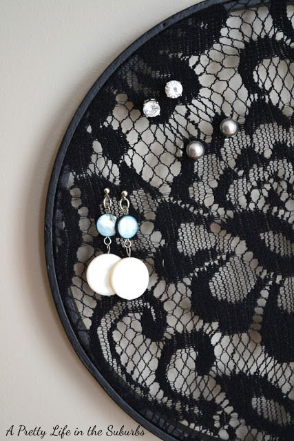 Round shaped black lace earring holder, cute for jewelry display and jewelry organization.