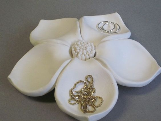 Beautiful ceramic floral sculpture shaped as a flower bloom great jewelry holder