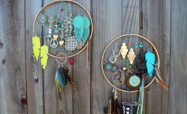 A dream catcher earring holder for keeping your precious earrings in the right place
