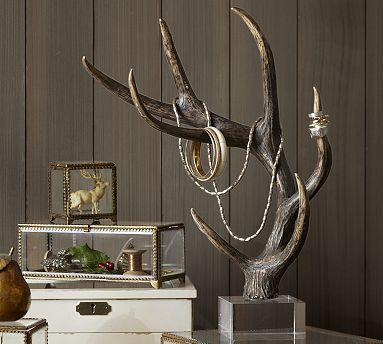 Unusual jewelry displays and holders are the latest, just like this faux antler jewelry holder.