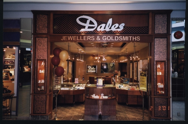 Dales Jewellers & Goldsmiths keep it classic for their jewelry store, but get a lot of points for the open entrance idea. It simply pulls you in.