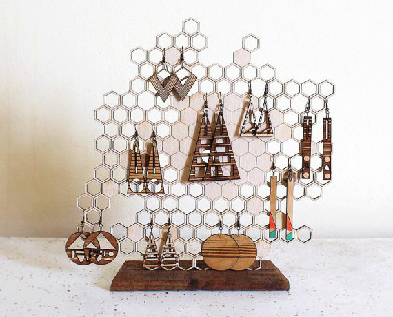 Honeycomb jewelry display fit and cute as an earring or necklace holder.
