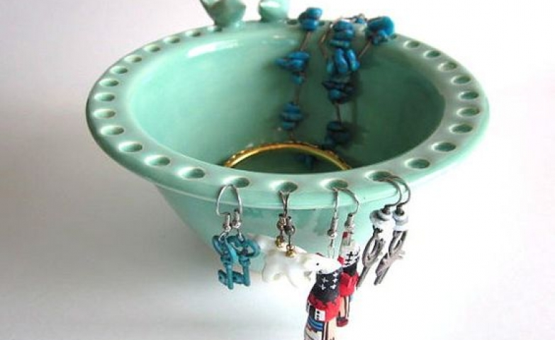 Mint green ceramic pottery bowl with lovebirds perfect as an earring jewelry holder