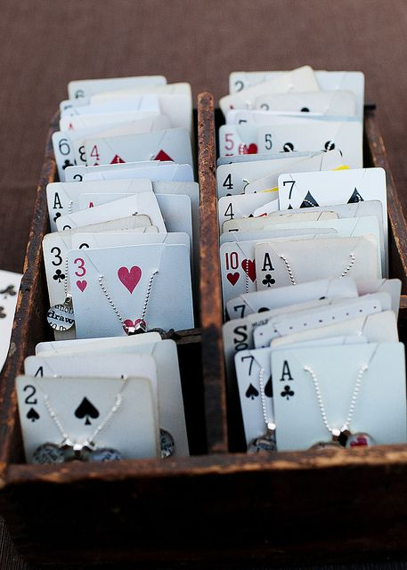 Playing card used for jewelry display, placed in a wooden box. A very unique idea.