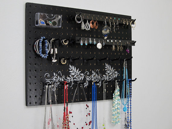 Black with silver modern vine design for a jewelry organizer perfect as a necklace hanger and earring holder.