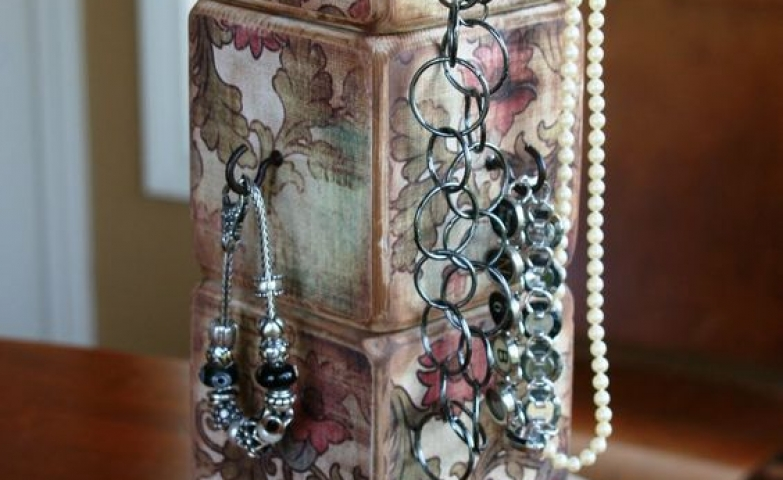 Vintage blocks necklace and bracelet holder perfect for a boutique jewelry display