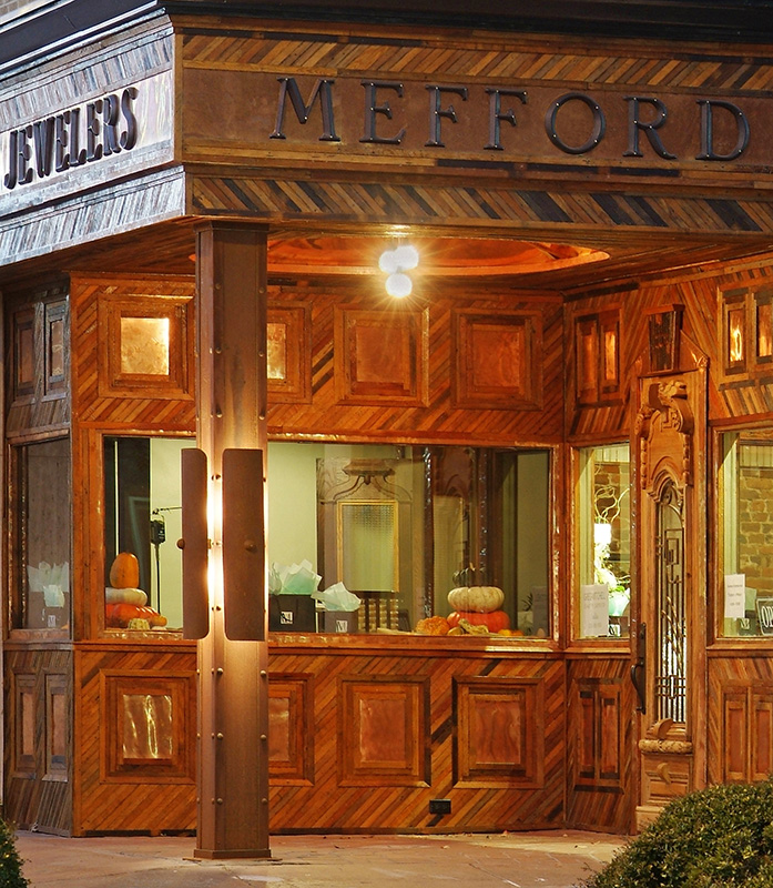 The Mefford storefront looks almost like a fantasy with this combination of different colored wood strips, a curious vintage display and strong lettering for the logo.
