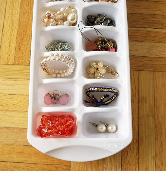 You can also store jewelry in an ice cube tray, who would have thought, right?