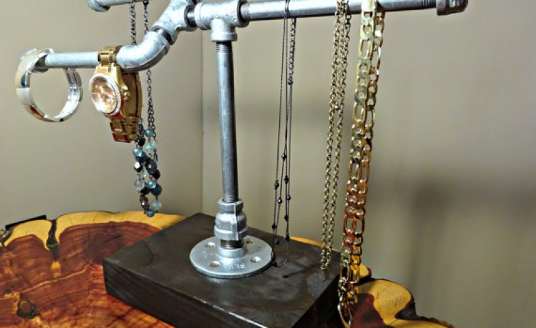 Industrial design jewelry rack pipe for a unique bracelet, necklace or watch jewelry display