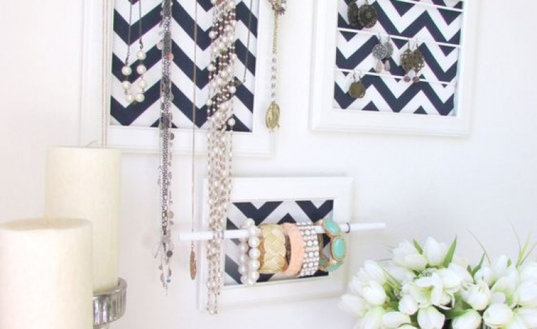 More DIY jewelry organizers, a set of 3 made from frames, with an added touch of a bracelet bar and necklace hangers.