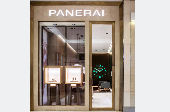 Although small, this Panerai store has so much personality. Digital clock inside, tall glass windows with interesting box jewelry displays. Seen in Sandton City, Johannesburg.