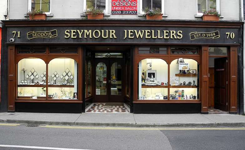 A very vintage look from the Seymour Jewellers, a front predominant with wood and glass and an imposing gold lettering logo can be seen in Skibbereen