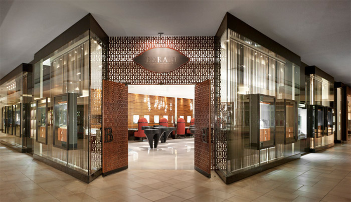 Inspiration for a sophisticated design for a jewelery store from this shop in Toronto, with massive doors and a minimalist design, all front glass which gives the viewer a sneak preview of what he can find inside