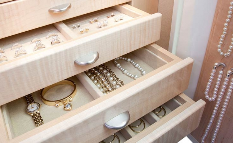Drawer organizers are ideal if you wish to store the most precious pieces. All you need is a few different sized holders.