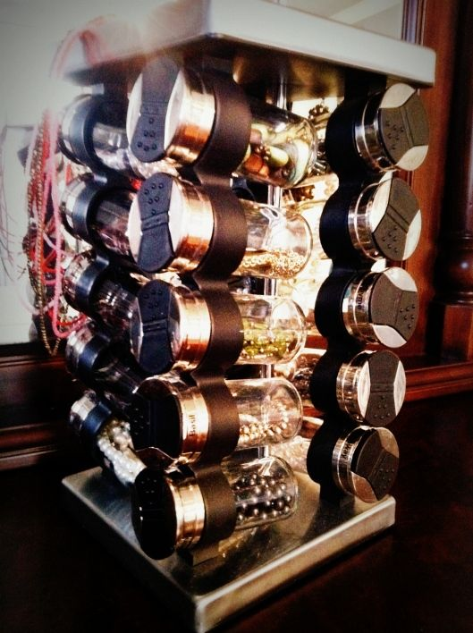 Creative and fun idea of a spice rack which becomes an awesome jewelry display.