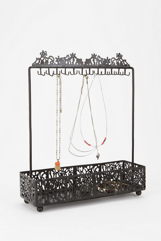 Trellis jewelry stand made from metal with black color finish, for hanging and storage of jewels.