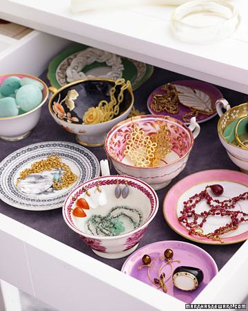 Something different and pretty, an idea for jewelry organisation is using these colorful cups to store different pieces.