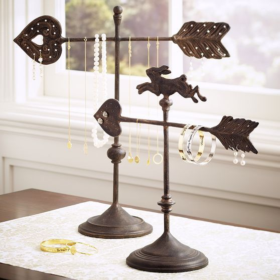 Weather vane jewelry holders, with rusty finish and heart shaped arrow. For hanging necklaces, bracelets, and earrings.
