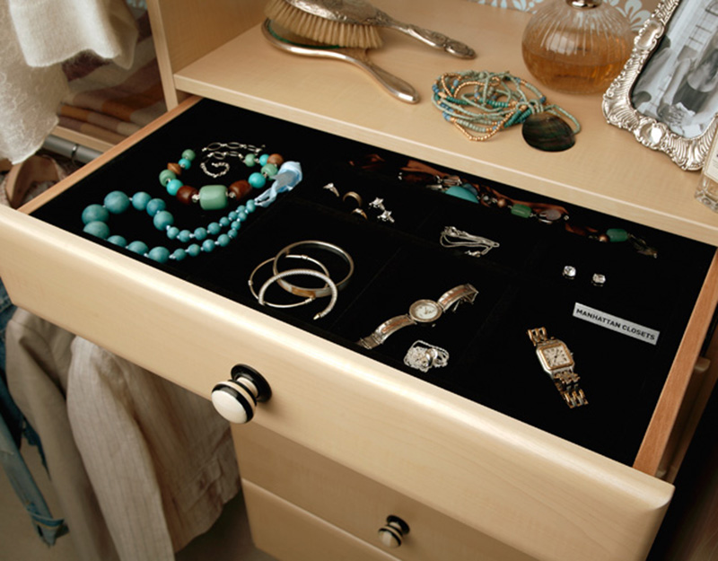 Always a great idea to have an in wardrobe jewellery organiser, and can be easily done with a drawers and a black foam base for keeping all kinds of jewels.
