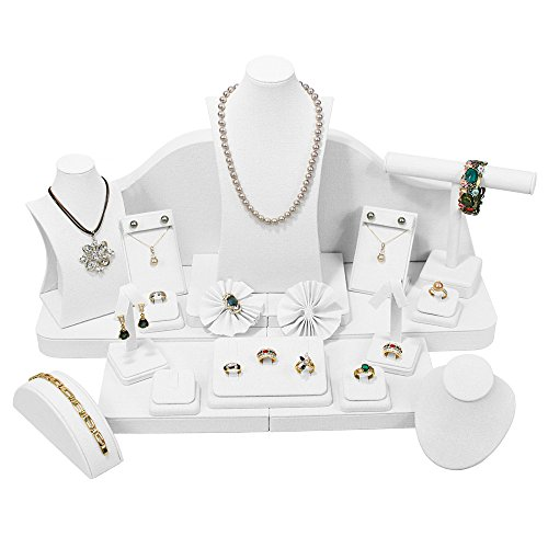 40 Piece Minimalist White Faux Leather Jewelry Display Set By Ikee Unique Jewelry Stands And Displays