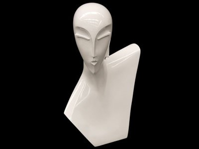 Abstract glossy white female head mannequin for necklace for Lady mannequin jewelry holder