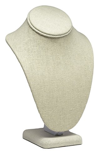 Medium Beige Linen Necklace Jewelry Display Mannequin Bust