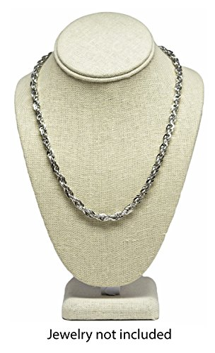 Medium Beige Linen Necklace Jewelry Display Mannequin Bust