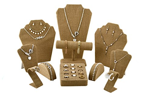 Burlap Covered Jewelry Display Set By Regal Pak