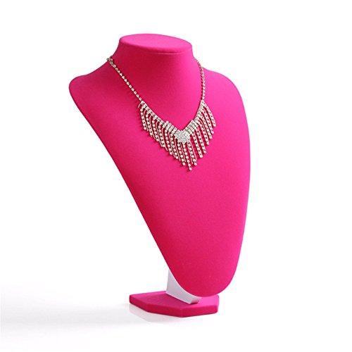 Rose RedPink Velvet Necklace Jewelry Mannequin Bust Display