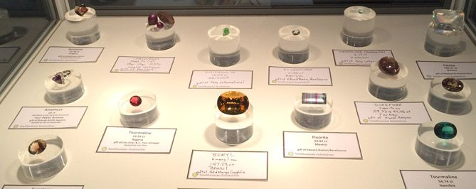 Gemstones lighted in a display case